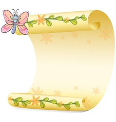 Butterfly and a paper sheet vector image vector image