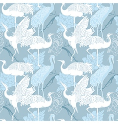Cranes birds seamless pattern vector image