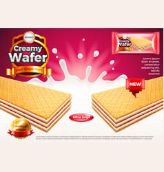 Creamy wafer ads milk splashes background vector