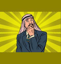 Elderly arab businessman thinker pose vector