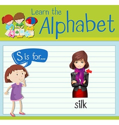 Flashcard letter s is for silk vector