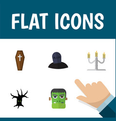 flat icon celebrate set of monster tomb terrible vector image vector image
