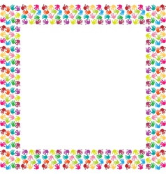 Frame of colorful hands vector image vector image