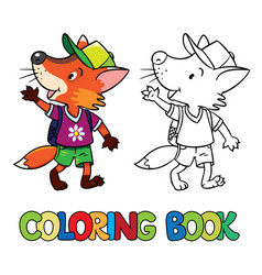 Funny fox with backpack coloring book vector