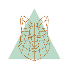 geometric head of a fox vector image vector image