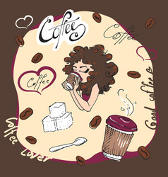Hand drawn beautiful cute girl with cup of coffee vector