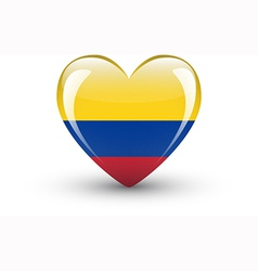 Heart-shaped icon with national flag of Colombia vector image vector image