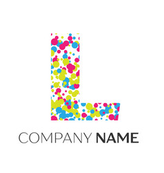 Letter l logo with blue yellow red particles vector