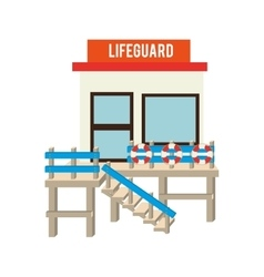 Lifeguard station beach design vector
