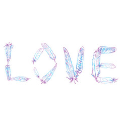 Love inscription made of bird feathers vector