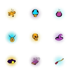 Magic icons set pop-art style vector