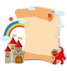 Paper design with dragon and castle vector