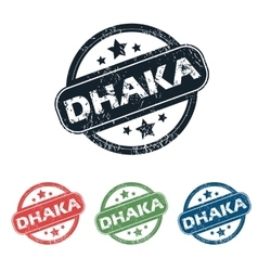 Round dhaka city stamp set vector