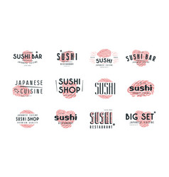 set of emblems and logo for sushi shop vector image