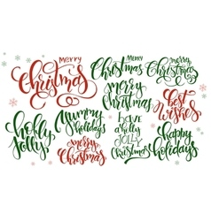 set of hand lettering christmas quotes - vector image