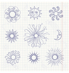 Set of monochrome doodle moon and different suns vector image