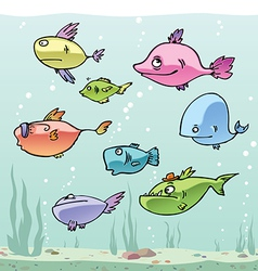 Set of the funny cartoon fishes in their habitat vector
