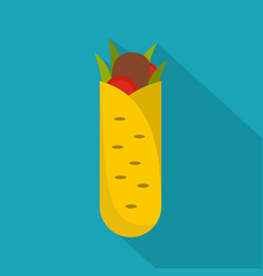 Shawarma icon flat style vector