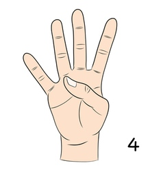 Sign language number 4 vector