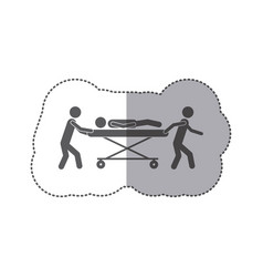 sticker monochrome pictogram paramedics with vector image