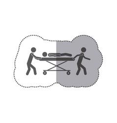 Sticker monochrome pictogram paramedics with vector