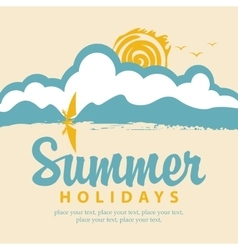 summer banner with sea and surfer vector image vector image