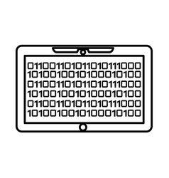 tablet with binary code isolated icon vector image vector image