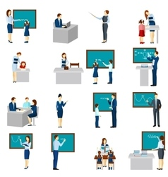 Teacher And Pupils Flat Icons Set vector image vector image