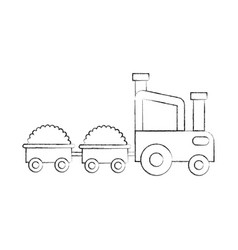 Tractor farm with straw wagons vector