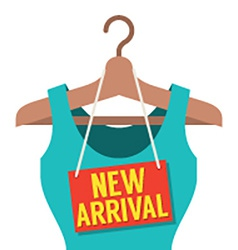 Woman clothes on hanger with new arrival tag vector