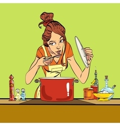 woman preparing food in the kitchen vector image
