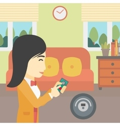 Woman controlling vacuum cleaner with smartphone vector