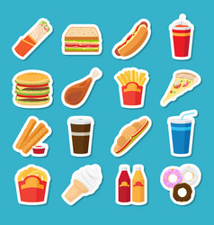 Fast food and drink stickers vector