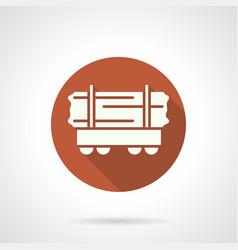 Long loads open rail car orange round icon vector