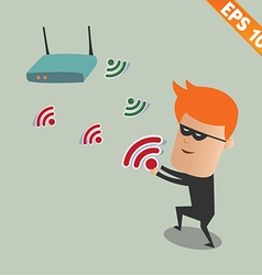 Hacker sniff wireless network - - eps10 vector