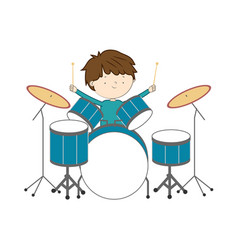 Boy playing drums isolated on white background - vector
