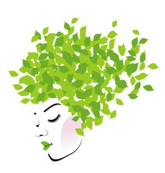 Hair with green leaves- organic hair product logo vector