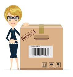 Business woman pointing to a large cardboard box vector