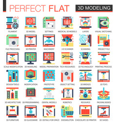 3d modelling and printing complex flat icon vector image vector image