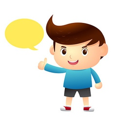 Boy say balloon cartoon vector
