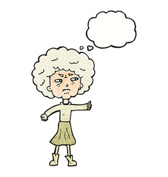 Cartoon annoyed old woman with thought bubble vector