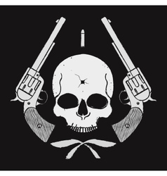Wild west skull with bullet hole and 2 pistols vector
