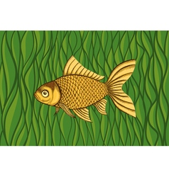 Goldfish on a background of green algae vector