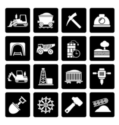 Black mining and quarrying industry icons vector