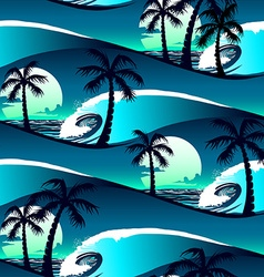 Tropical hibiscus and palm trees at sunset vector image