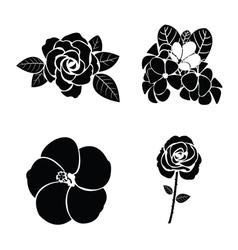 Black silhouette of flower set vector image