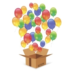 Cardbox and colorful balloons vector