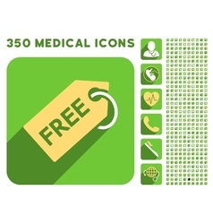 Free tag icon and medical longshadow icon set vector