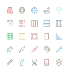 User interface colored line icons 27 vector