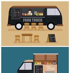 Food truck flat design vector